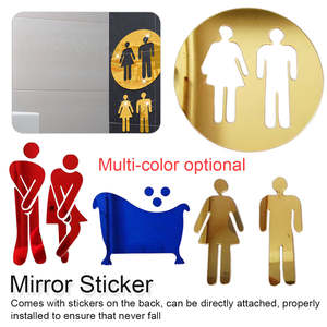 Decals 3d-Mirror-Sticker Diy-Decoration Toilet-Door Bathroom Wall Entrance-Sign WC Men