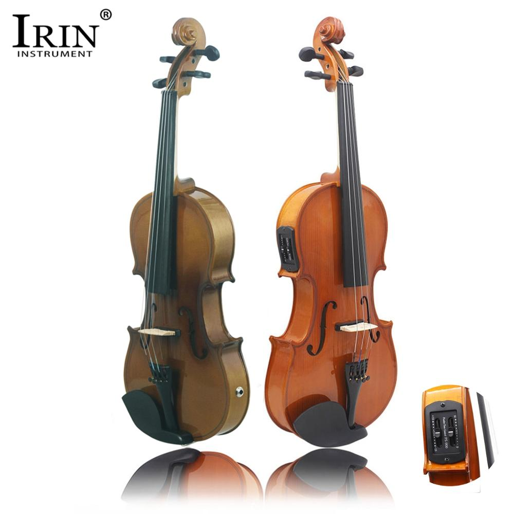 IRIN Electro-Acoustic EQ Violin Fiddle Kit Solid Matte Finish Spruce Face Board 4-String With Case Cable Violin Rosin