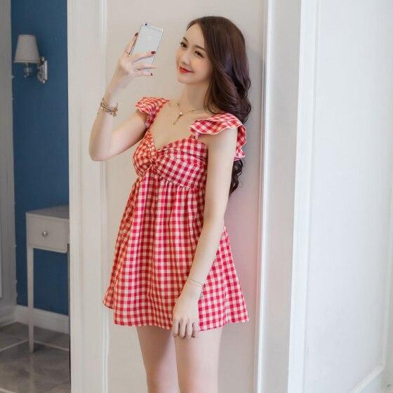 New Cute Women dress Plaid Cotton And Linen Strapless Backless Feifei Sleeve Vest Dresses 837 DG412