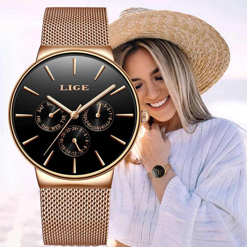 LIGE Women Watches Luxury Brand Fashion Quartz Ladies Exquisite Watch Dress Waterproof Watch Simple Gift Clock Relogio Feminino