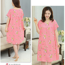 Women's Loose Nightgown Sleepshirts Vintage StyleFloral Nightgowns Nightdress Lounge