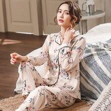 Женская атласная пижама с длинным рукавом, Элегантная Шелковая пижама с цветочным принтом для весны и лета, 2019