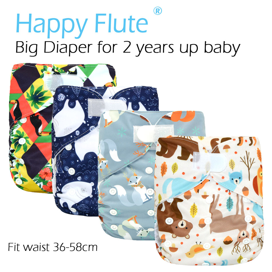 New!HappyFlute Big XL Pocket Diaper For Baby 2 Years And Older,suedecloth Inner, Stay-dry, Size Adjustable Fits Waist 36-58cm