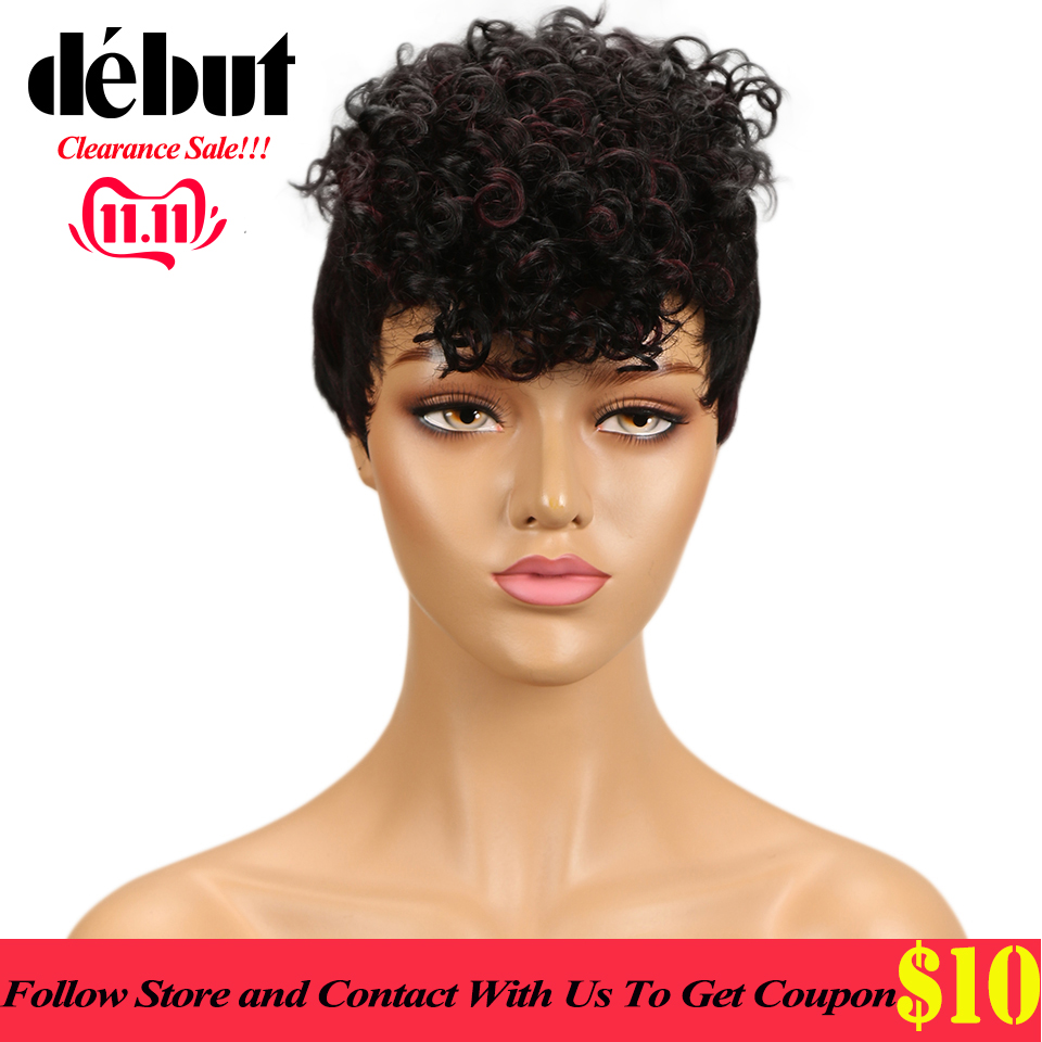 Debut Wigs For Black Women Short Human Hair Wigs Ombre Curly Human Hair Wig Remy Jerry Curl  Human Wigs Free Shipping