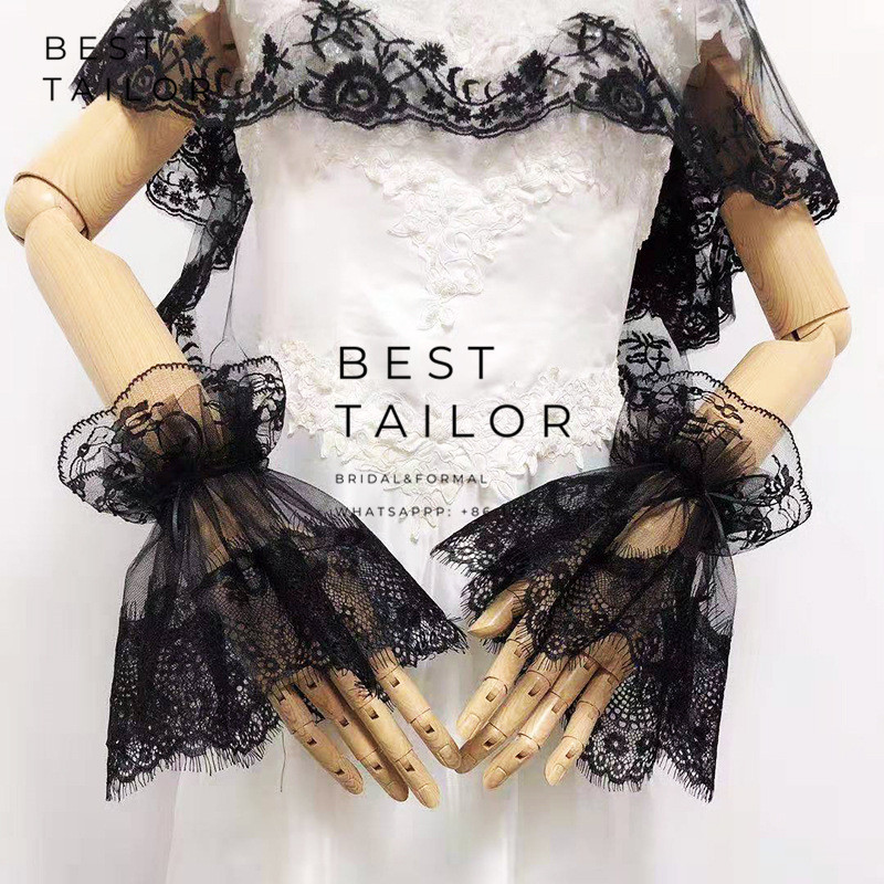 Lace Wedding Gloves Accessoire Short Black Mariage Bridal Agaric Pleated Ruffles Horn Cuffs Short Gant Femme Wedding Accessories