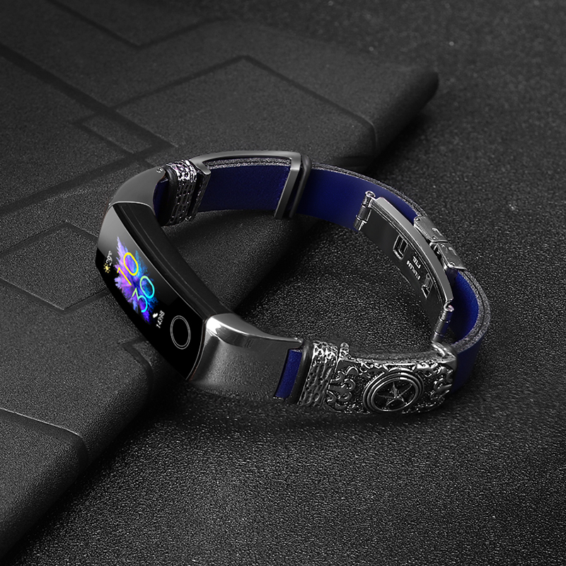 Leather Bracelet For HONOR Band 5 4 Strap Stainless Steel Decoration For HUAWEI HONOR Band 5 Replacement Strap Accessories
