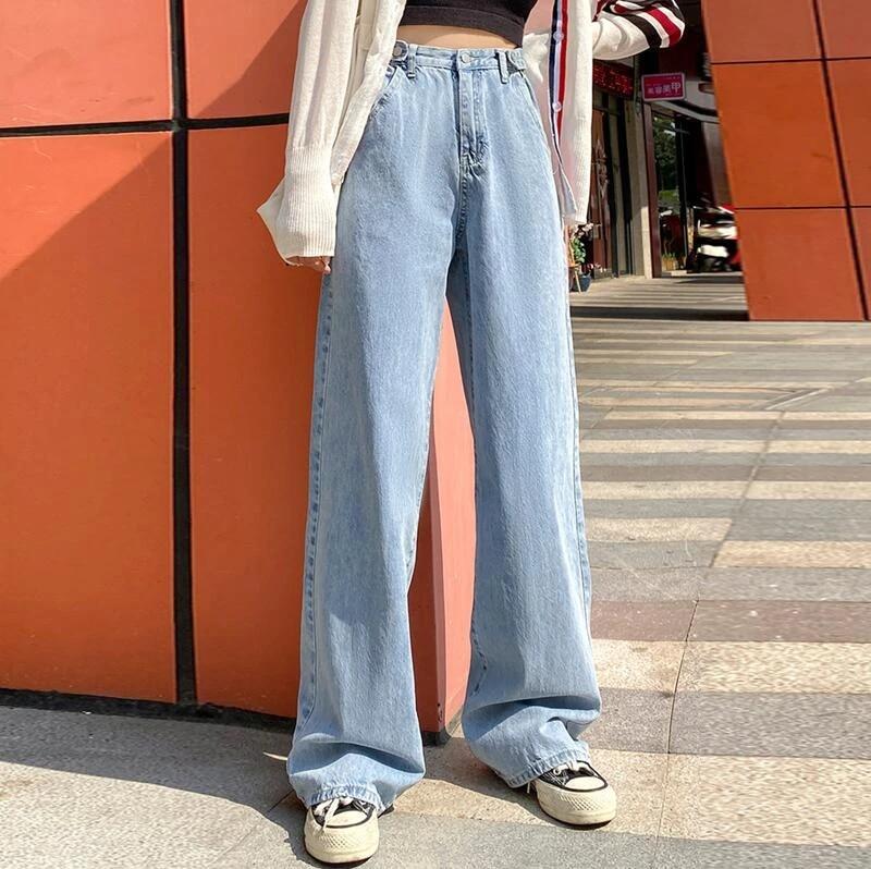 Pantalones Vaqueros De Cintura Alta Para Mujer Ropa Vaquera De Pierna Ancha Ropa De Calle Azul Moda Vintage Harajuku Recta 2021 Pantalones Vaqueros Aliexpress
