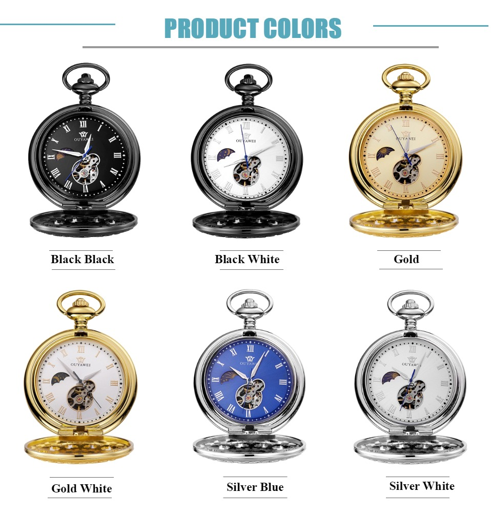 Vintage Men Pocket Watch Self Winding Mechanical Fob Watch Fashion Black Skeleton Pendant Man Necklace Chain Clock Weeding Gift
