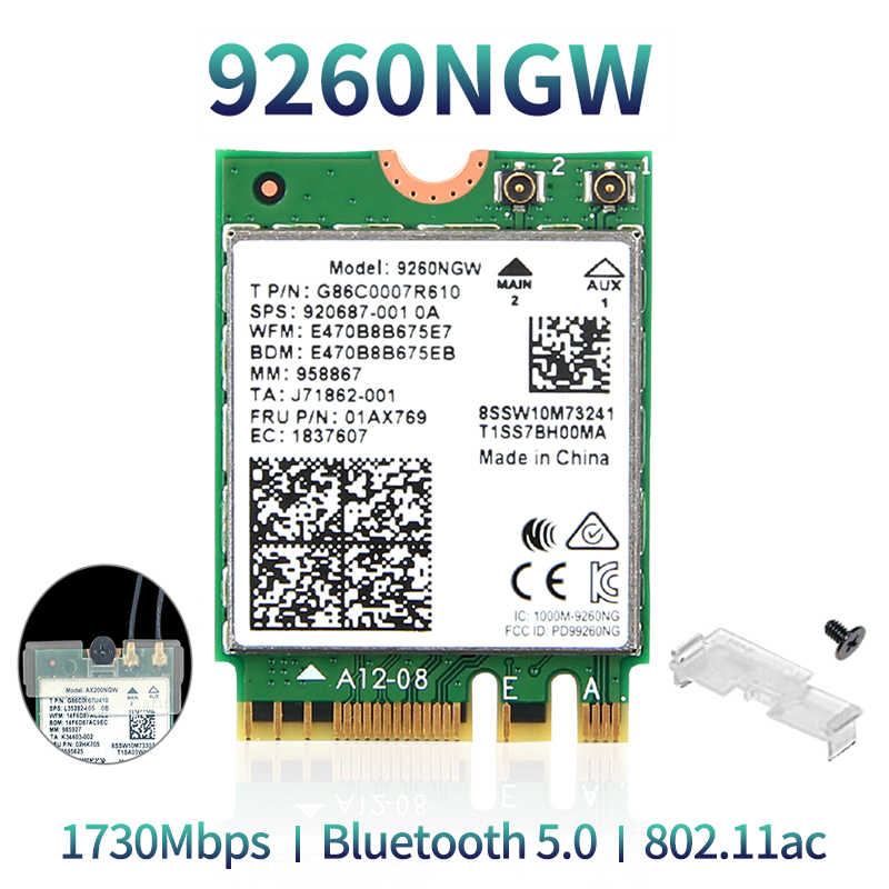 1730 Mbps 9260NGW Wifi Placa de Rede Sem Fio Para O Intel 9260 AC 2.4G/5 Ghz NGFF 802.11ac Wi-fi Bluetooth 5.0 para Laptop Windows 10