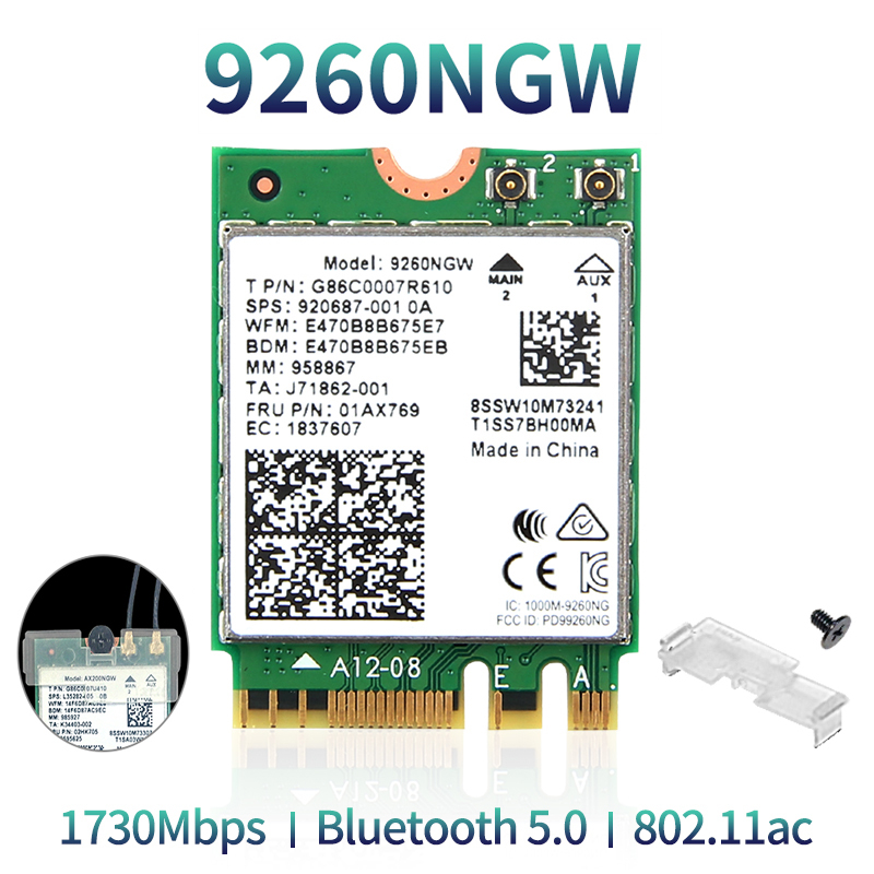 Wireless 2030Mbps 2.4G/5Ghz M.2 Network Wifi Card For Intel 9260 AC 9260NGW 802.11ac Bluetooth 5.0 Laptop Deskktop Windows 10