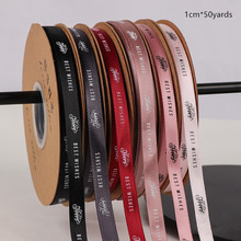 1cm Solid Color Ribbon Belt Printed BEST WISHES  Letter Flower Gift Florist Decoration Packaging Material