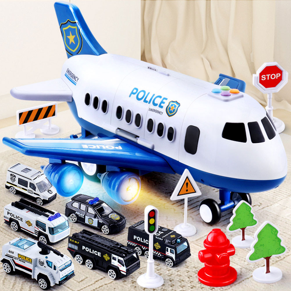 Kids Aircraft Car Model Toy Set Large Size Airplane Storage Passenger Car Police Fire Rescue Toy Children Education Music Toy image