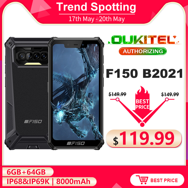 F150 B2021 6GB+64GB IP68 Waterproof Rugged Smartphone 8000mAh 5.86'' Helio G25 Octa Core 13MP Quad Camera Mobile Phone 1