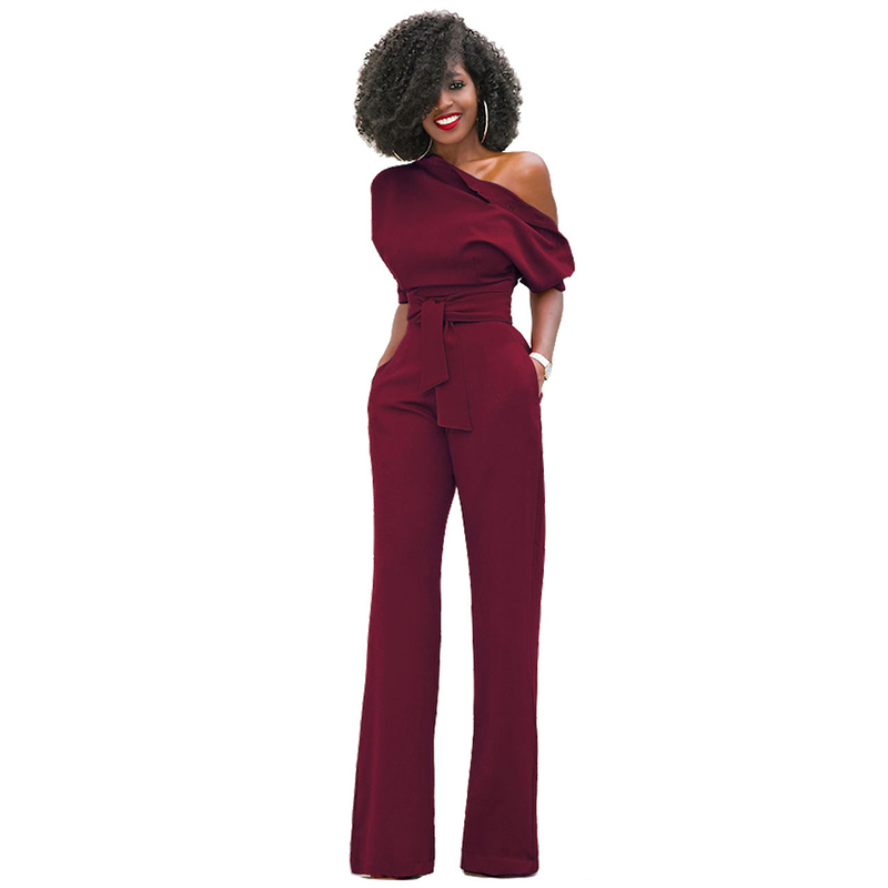 Duzeala 2019 High Quality Autumn Casual Jumpsuit One Shoulder Slash Neck Button Romper Full Length Jumpsuit Wide Legs Jumpsuit