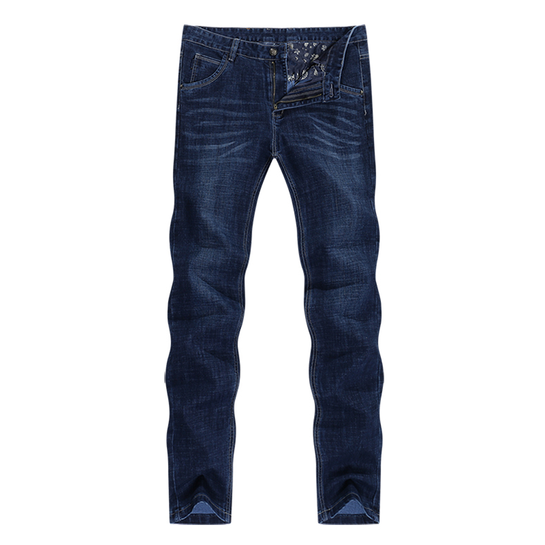 KSTUN Jeans Men Classic Straight Dark Blue Spring and Autumn Regular Fit Casual Pants Cotton Men's Clothing Trousers Male Jeans 11