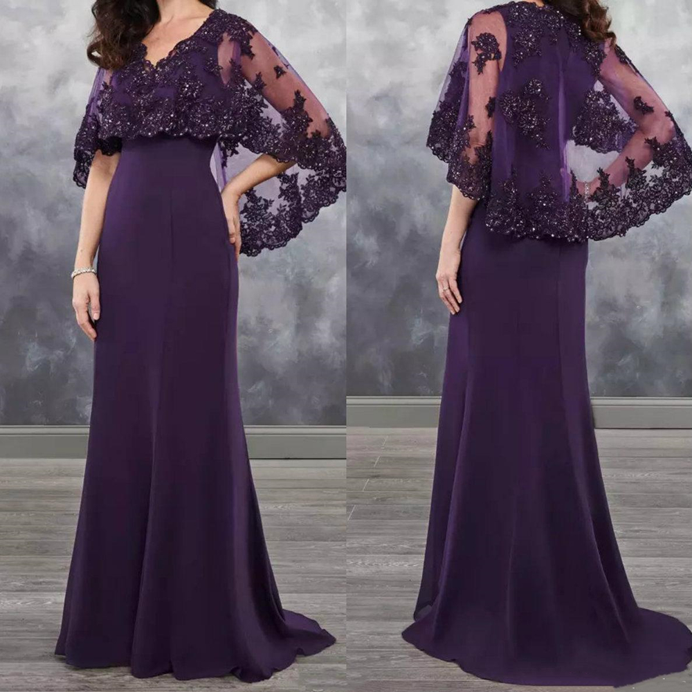 Long Purple Mother Of The Bride Dress With Cape Shawl Wrap Sparkly Sequins Lace Wedding Party Mother Of The Groom Evening Gowns