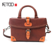 AETOO Handmade first layer cowhide art handbag retro small box handbag leather profile oblique cross package shoulder small squa