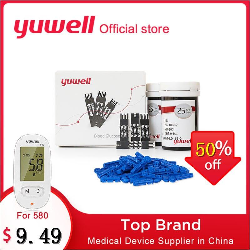 Yuwell 50/100/200/500pcs Blood Glucose Test Strips + Sterile Lancets For Diabetes Glucometer Blood Glucose Meter 580 590