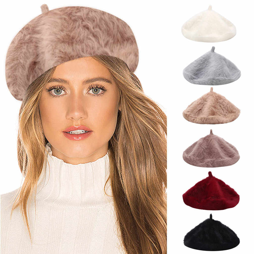 Thời Trang Thanh Lịch Nữ Mũ Nồi Bò Phong Cách Cổ Điển Len Nỉ Bé Gái Mũ Nồi Giữ Ấm Mùa Đông Mềm Mại Màu Cốm nón
