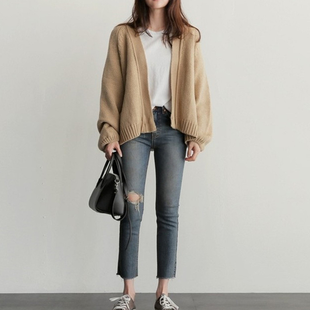Women's Knitting  Loose Sweater Ladies' Casual Style Coat Solid Color Outwear Casual Open Front Cardigan Coat 10