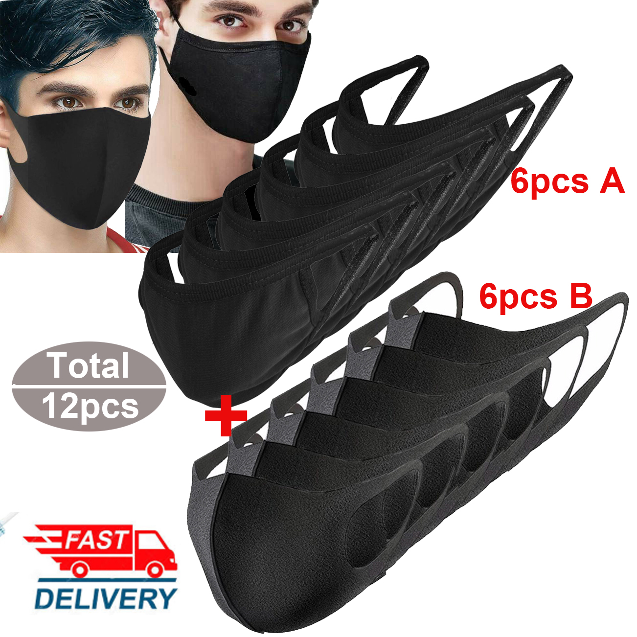 12pcs Cotton Mouth Mask Ice Silk  Summer Washablle Breathable Dustproof Anti-fog PM2.5 Dust Mask Protective Masks