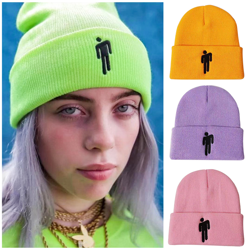 2019Embroidery Trend Billie Eilish   Beanies   Hats Cuffed Plain   Beanie   Warm Winter Knitted Hats for Men Women Solid Hip-hop Cap
