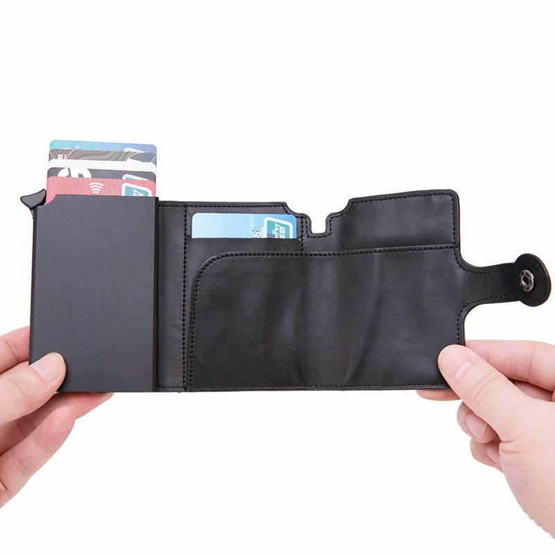 Mannen RFID Button Credit Kaarthouder Hoge Kwaliteit Metalen Aluminium Auto Pop-up RFID Blocking ID Card Case Zwart portemonnee Portemonnee