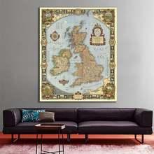 Винтажная холщовая карта прокрутки Великой британской страны