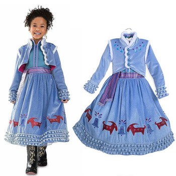 2019 Movie Anna Cosplay Costume Dress Princess Anna Dess for Girls Cosplay Snow Queen Anna Elsa Kids Costume Party Dress фото