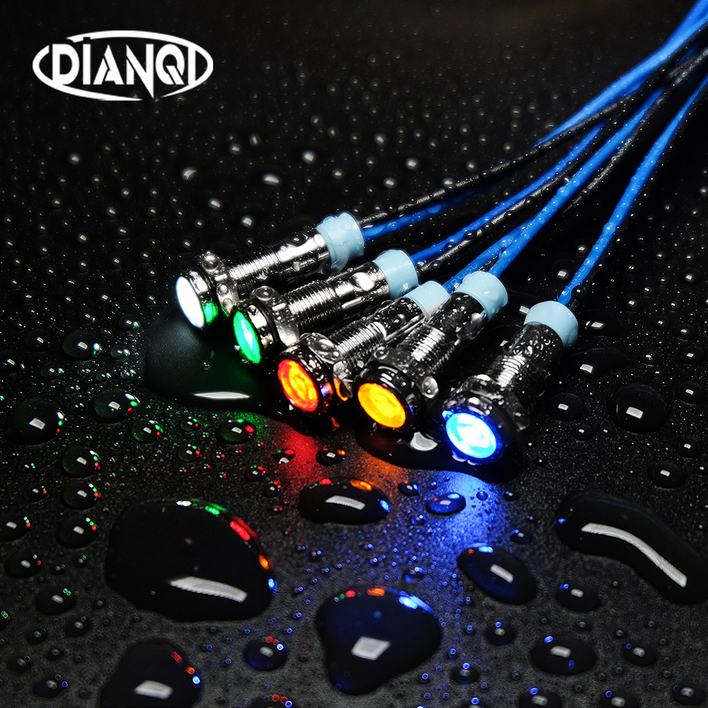 1PC 6mm LED métal indicateur lumineux 6mm étanche Signal lampe 6V 12V 24V 220v avec fil rouge jaune bleu vert blanc 6ZSD.X