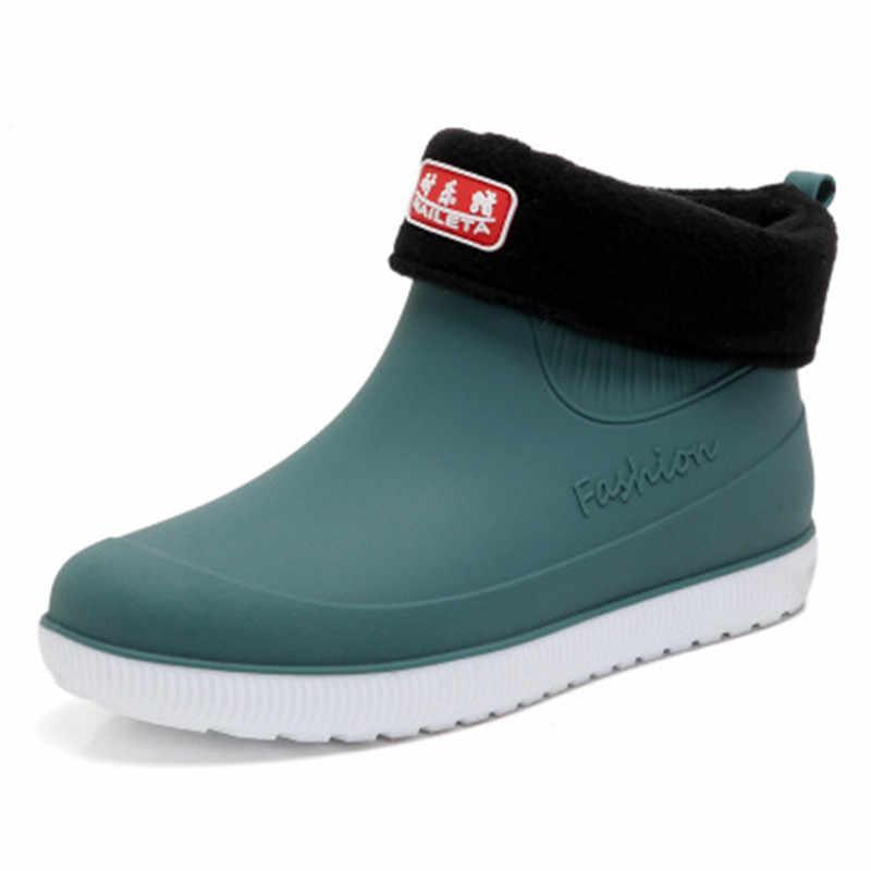 Auto Waschen Gummi Regen Stiefel Männer Mode Wasserdichte Low Slip Wasser Stiefel Chef Arbeit Schuhe Erwachsene Knöchel Kurze Stiefel alle jahreszeiten