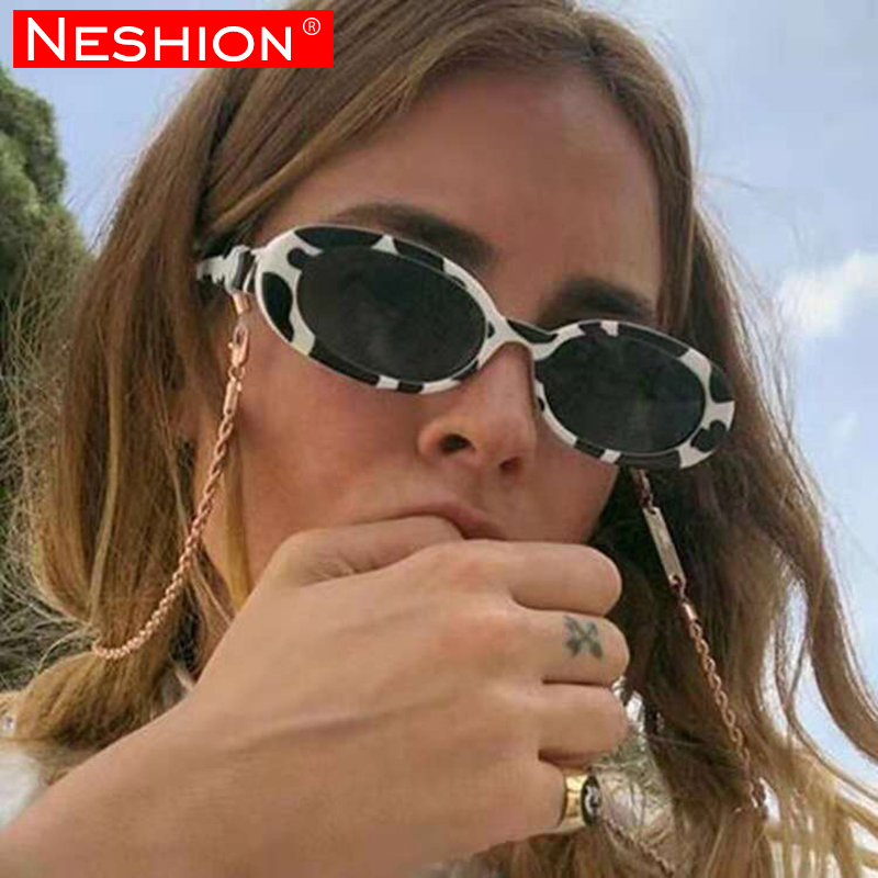Fashion Black White Print Oval Hiphop Women Sunglasses Street Cat Eye Vintage Cow Color Small Frame Rapper Glasses Shade Mirror