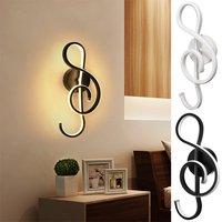 Música clef forma conduziu a lâmpada de parede 22 w quarto ao lado da luz da parede casa sala de estar decoração iluminação interior ac 110 220 v 2 cores|Luminárias de parede| |  -