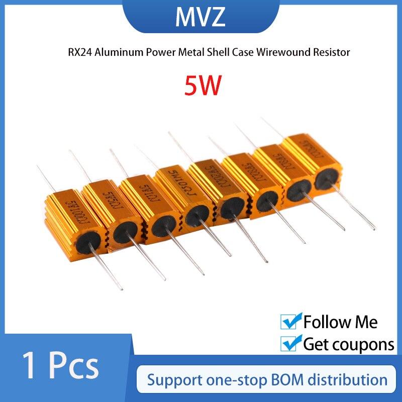 1PCS 5W Alumínio Shell Power Metal Caso Wirewound Resistor 0.1R 0.2R 0.22R 0.25R 0.33R 0.47R 0.5R 0.68R 0.75R Ohm Igmopnrq RX24