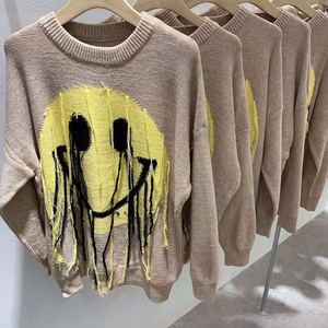 2020 New Knitted Sweater Oversized Yellow Smiley Face Print Logo Tassel Tops Tee Men Women Autumn Winter knitted Thick Hoodie