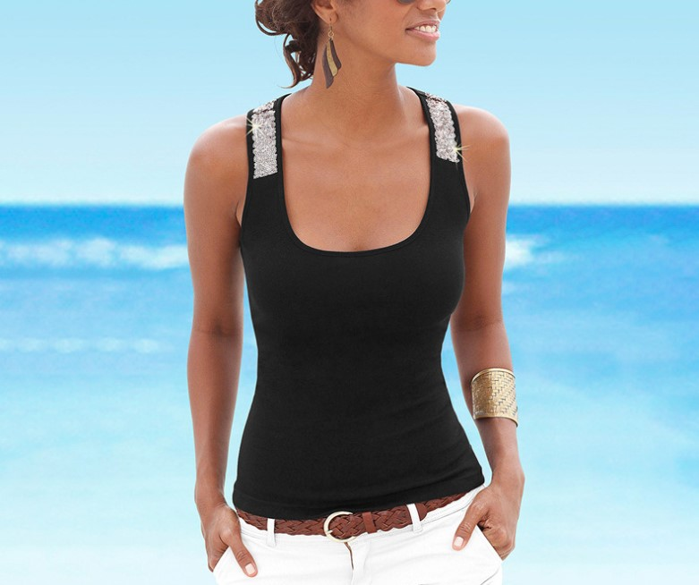 2019 summer women 39 s T shirt U neck sleeveless vest stitching milk silk sequined vest T shirt in Tank Tops from Women 39 s Clothing