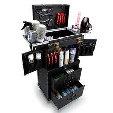 새로운 대용량 트롤리 화장품 케이스 롤링 수하물, 다층 뷰티 문신 살롱 트롤리 가방 여행 메이크업 도구 상자