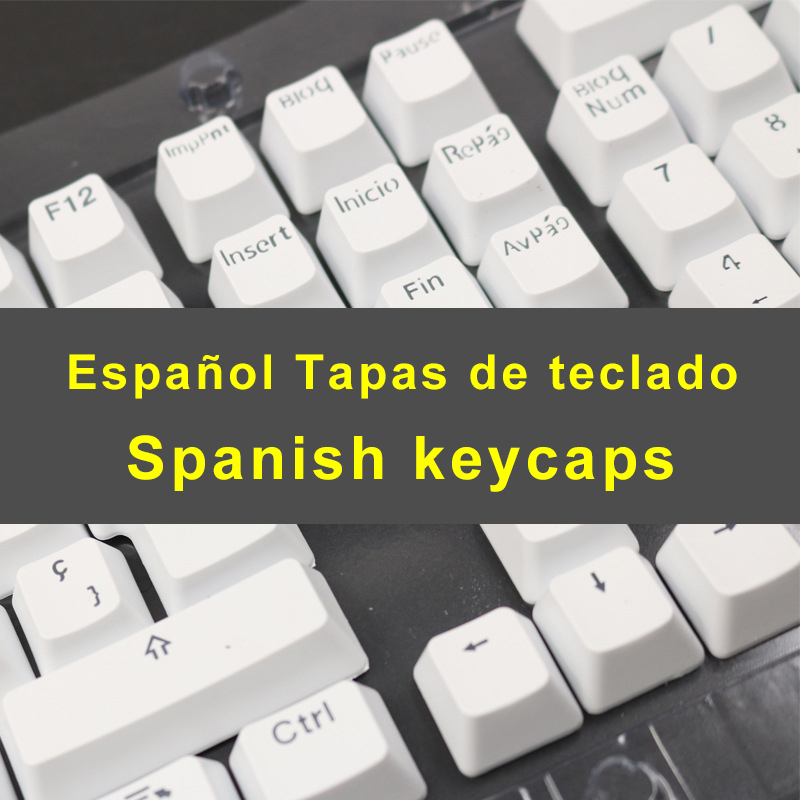 Spanish Keycaps For Mechanical Keyboard Compatible With MX Switches Double Shot Support Led Lighting Keycaps OEM Profile