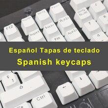 Espanhol keycaps para teclado mecânico compatível com mx switches duplo tiro suporte led iluminação keycaps perfil oem