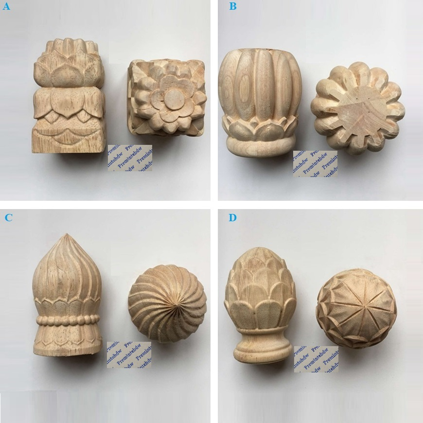 Round Square Wood Carved Post Bed Handrail Decorative End Head Finial Pine Cone Bun Design