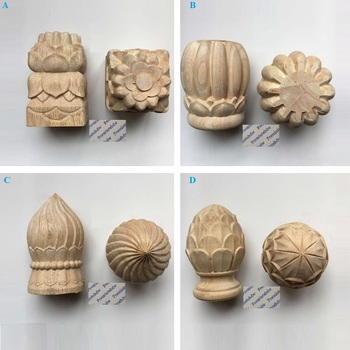 Round Square Wood Carved Post Bed Handrail Decorative End Head Finial Pine Cone Bun Design - sale item Furniture Accessories