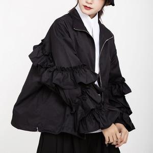 Image 2 - [EAM] หลวมFitสีดำRuffles Stitchขนาดใหญ่เสื้อใหม่แขนยาวผู้หญิงเสื้อแฟชั่นฤดูใบไม้ผลิฤดูใบไม้ร่วง2020 1B894