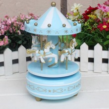 Merry-go-круглая деревянная музыкальная шкатулка игрушка детская игра домашний декор карусельная лошадка музыкальная шкатулка Рождество Свадьба День рождения подарок