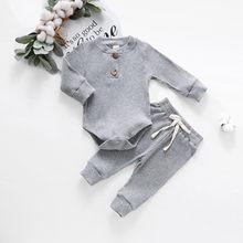 Infantil ternos de topo do bebê recém-nascido meninas meninos com nervuras sólido bodysuits + calças elásticas conjunto botão manga longa conjuntos do bebê
