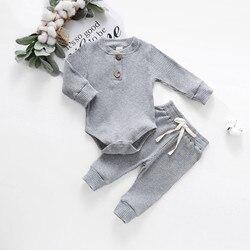 Топ для новорожденных, комбинезоны для новорожденных девочек и мальчиков, ребристые однотонные боди + эластичные брюки, комплект одежды на ...