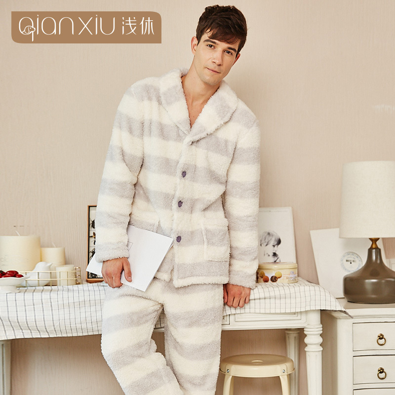 2019 New Gray Stripe Men's Pajamas Set Autumn Winter Warm Flannel Thicken Male Pajamas Sets Long Sleeve Sleepwear Top +Pants