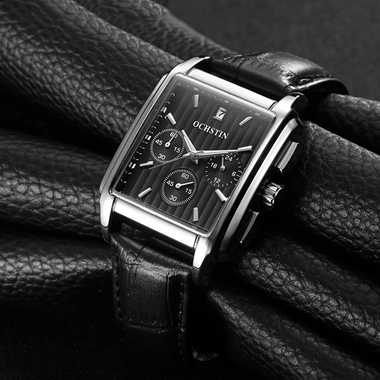 2018 Men Fashion Square Quartz Watches Luxury Brand Casual Sports Business Male Watches Day Date Show Chronograph Clock