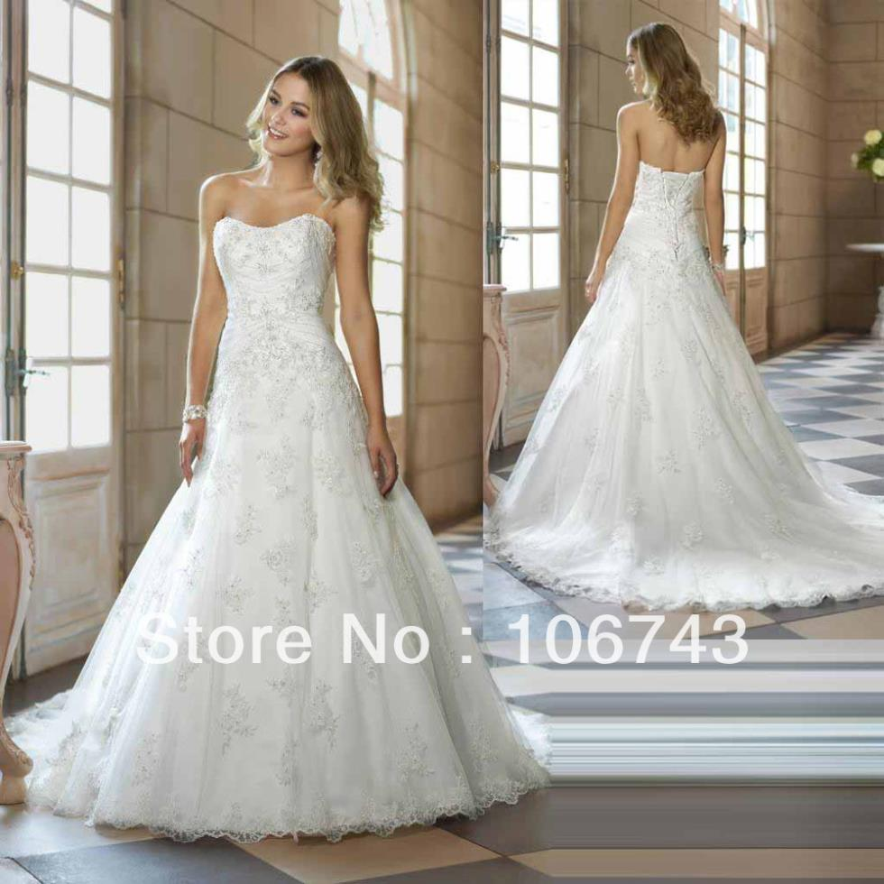 Free Shipping 2016 New A-line Gorgeous Beaded Encrusted White/Ivory Lace Wedding Dress Custom
