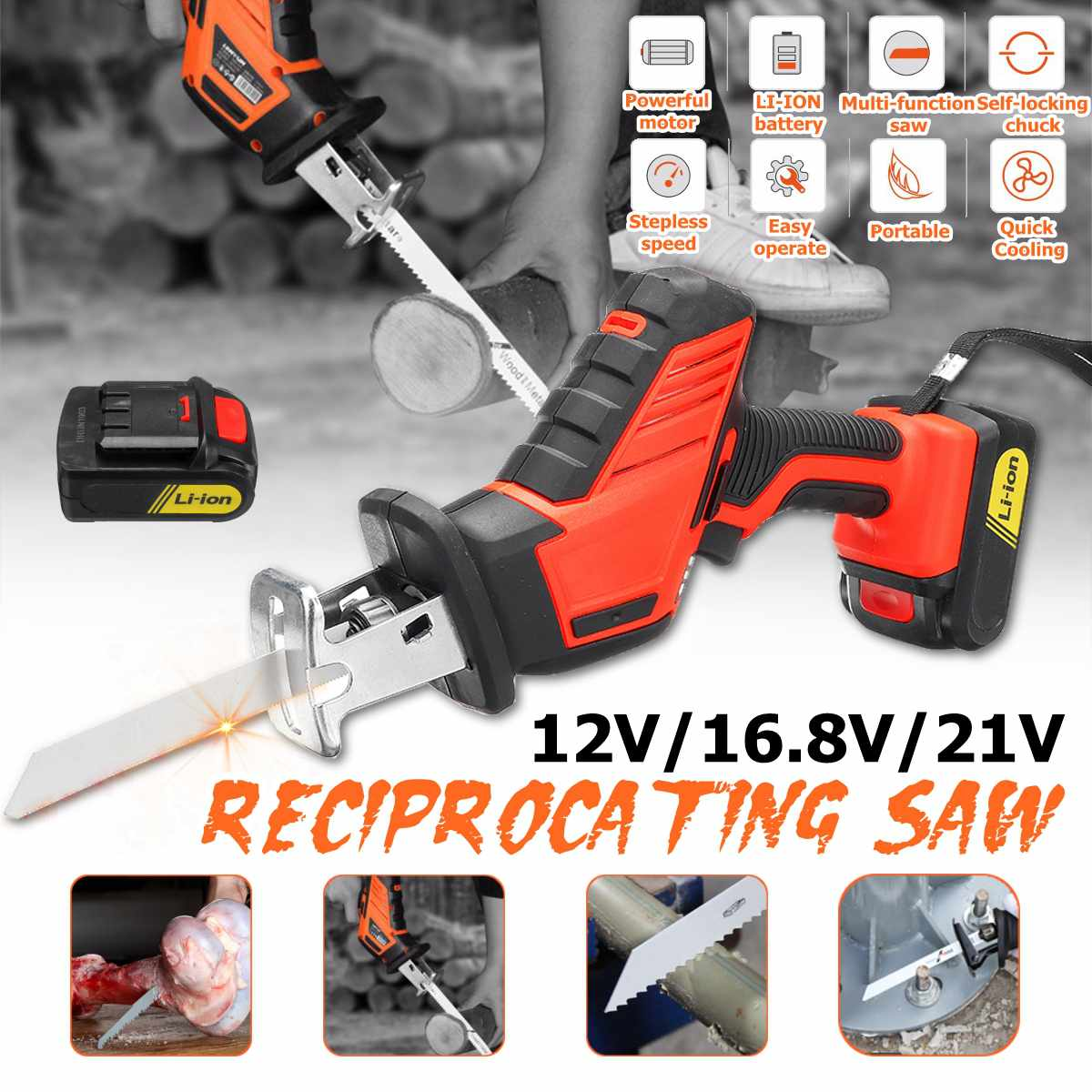 18V BRUSHLESS Cordless Reciprocating Saw Portable Replacement Electric Saw Metal Wood Cutting Machine Tool with Makita Battery