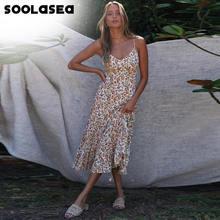 Женское пляжное платье с оборками soolasea повседневное длинное